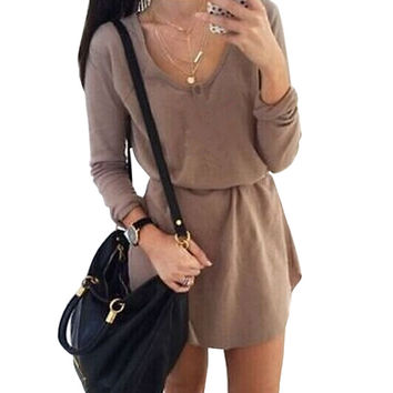 Brown Long Sleeve Blouson Mini Dress