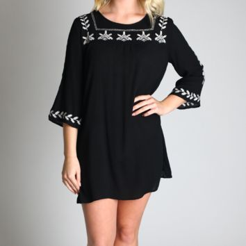 Umgee Black Embroidered Mini Bell Tunic Dress