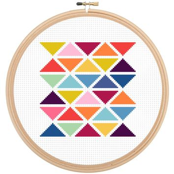 Modern Geometric Triangle Cross Stitch Kit