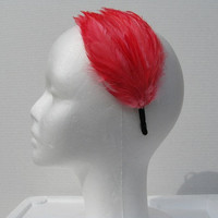 Coral Feather Headband, Metal Headband, Feather Fascinator Headband, Feather Pad Headband