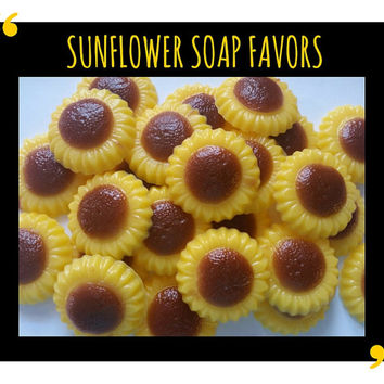 Sunflower Soap Party Favor - Wedding Bridal Shower Yellow & Brown Birthday Spring Garden Tea Party - Pack of 25