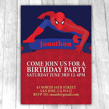 Spiderman Birthday Invitation, custom wording, red and blue, 5x7 digital printable boys party invite, includes 6x8 red spiderweb background
