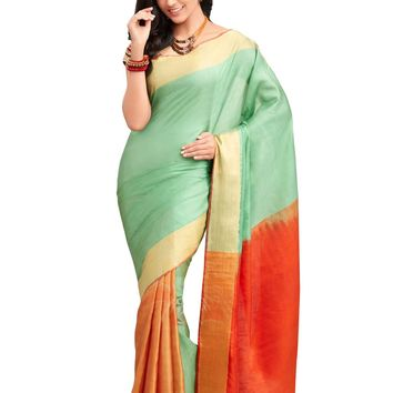 Mint Green and Orange Pure Silk Handloom Pattu Sari - ROSNT2046