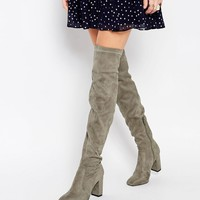 Public Desire Nada Grey Over The Knee Boot
