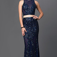 Two Piece Sheer Illusion Long Sequin Prom Dress