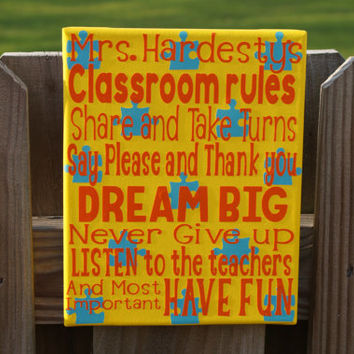 Teacher's Classroom Rules, Back to School Canvas, 8x10 Digitally Printed Classroom Decor