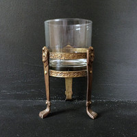 Brass Hollywood Regency Votive Candle Holder / Vintage Gold Home Decor / Glass with Metal Stand / Sculptural Accent / Made in India