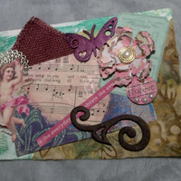 Greeting Card, Collage, Mixed Media, Cherub, Handmade Flower, Love Song Lyrics, Flourish, Fabric, Wooden Butterfly,