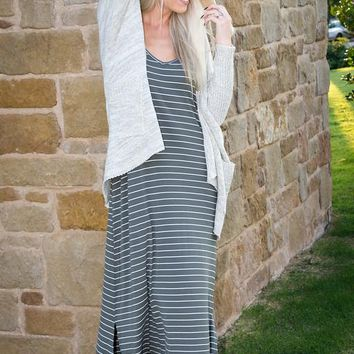 Olive and Ivory Striped Cami Maxi Dress