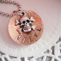 Hammered And Domed Copper Hand Stamped Necklace With Skull And Crossbones Charm