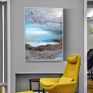 Abstract acrylic painting on canvas Original drawing oil Painting Wall Art Pictures for living room modern abstract Blue Gold wall decor