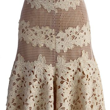 Sassy Flower Crocheted Fill Hem Skirt