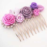 glamasaurus ♥Kawaii Cute Sweet Jewelry + Accessories ♥ — Pink and Purple Swan Cluster Hair Comb