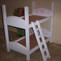 Bunk Bed made for American Girl 18 inch doll white with pink butterfly headboard design
