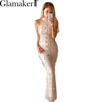 Glamaker Sexy high neck sleeveless summer dress 2016 new women fashion sequin dress Elegant party long dress vestidos de fiesta
