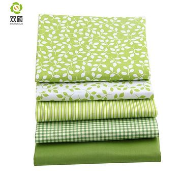 Shuanshuo Fresh Green Group Fat Quarter Patchwork Cloth Sewing Different Sizes 100% Cotton Meter Fabric 40*50CM 5PCS/LOT