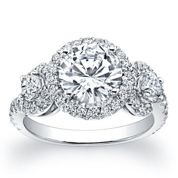 Ladies 18kt white gold micro pave three stone engagement ring 1.00 ctw G-VS2 diamonds and 1.50ct White Sapphire Center