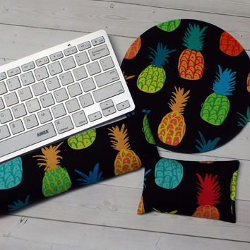 pineapples mouse pad, mousepad keyboard rest, and mouse wrist rest set -   coworker desk cubical office accessories