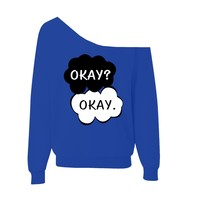 Okay Okay The Fault In Our Stars Off-Shoulder Wide Neck Slouchy Sweatshirt