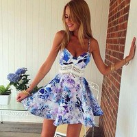 Floral Print Lace Spaghetti Strap Dress