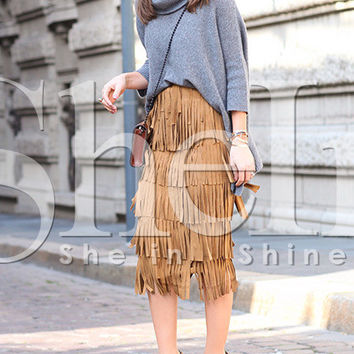 Khaki High Waist Fringe Skirt