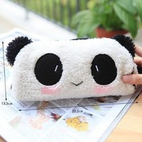 Cute Soft Plush Panda Pencil Pen Bag Cosmetic Makeup Bag Pouch