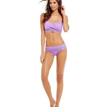Cremieux Solid Crochet Trim Twist Bandeau Top & Solid Crochet Trim Banded Bottom | Dillards