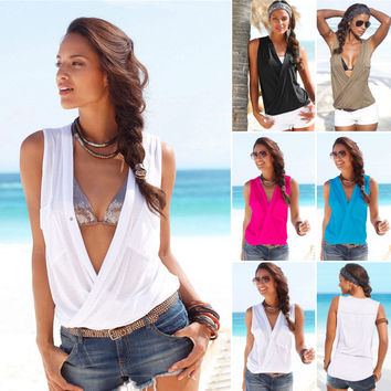 Deep V-neck Sleeveless Strap Cross Sexy Blouse