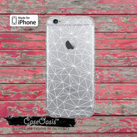 Geometric White Line Art Tumblr Inspired Geo Clear Case For iPhone 6, iPhone 6 Plus +, iPhone 6s, iPhone 6s Plus +, iPhone 5/5s, iPhone 5c