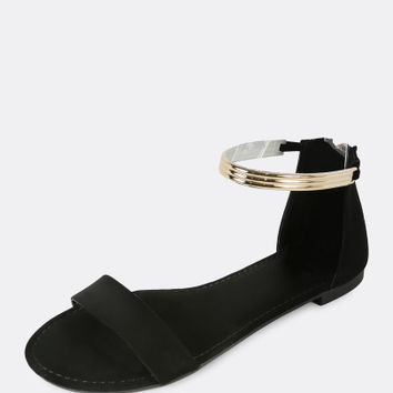 Gold Plated Ankle Cuff Single Band Flat Sandal BLACK