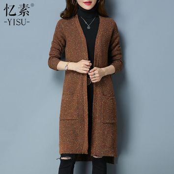 YISU cardigan women long Sweater  Autumn & Winter  wool Knitted Sweater Speckle Coat Long Sleeve Crochet Female Casual MK8055