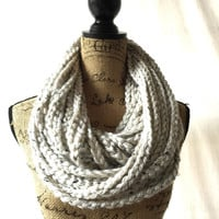 Large Ivory Tweed Black Brown Chunky Scarf Fall Winter Women's Accessory Chain Infinity
