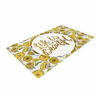 """Pom Graphic Design """"Life Is Beautiful"""" Yellow Gold Typography Illustration Woven Area Rug"""