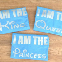 Free/Fast  Shipping For US I AM THE King and Queen and Princess Family Set of 3:Sky Blue(Silver decal)
