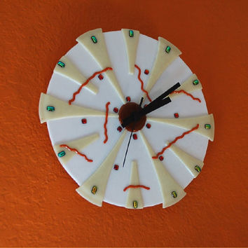White wall clock, fused glass with dichroic dots