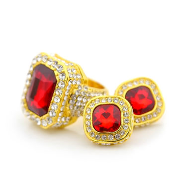 Iced Out Ruby Ring and Earring Set