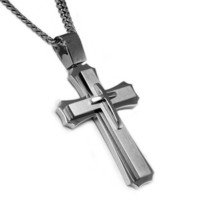 Stainless Steel Men's Tri-Layer Classic Cross Pendant