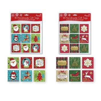 18 count Christmas Holiday Handmade Gift Tags - Traditional/Juvenile