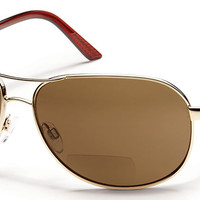 Suncloud - Aviator +2.50 Gold Sunglasses, Brown Polarized Lenses