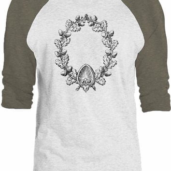 Big Texas Carved Acorn Wreath 3/4-Sleeve Raglan Baseball T-Shirt
