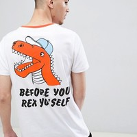 ASOS DESIGN t-shirt with rex dinosaur back print at asos.com
