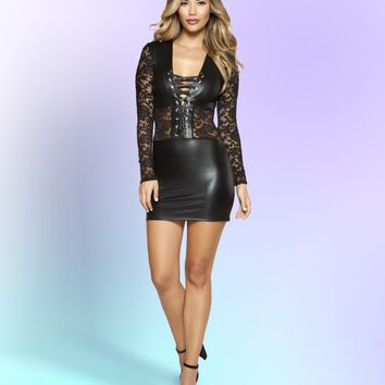 Roma 3341 Long Sleeved Lace Up Dress
