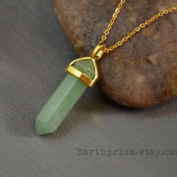 Green Adventurine Hexagonal Crystal Point Pendant Necklace with Gold Plated Chain   Adventurine Necklace   Gold Crystal Necklace   Gemstone