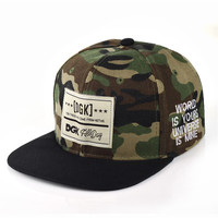 Camouflage Pattern Adjustable Hat Snapback Letter Cap Men Women Basketball  caps