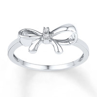 Bow Ring Diamond Accents Sterling Silver