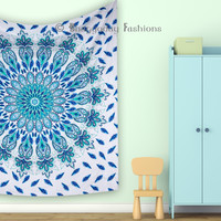Mandala Beautiful Peacock Tapestry, Indian Feather Wall Hanging, Bohemian Decor, Dorm Bedding, Hippie Wall Tapestries, Beach Blanket