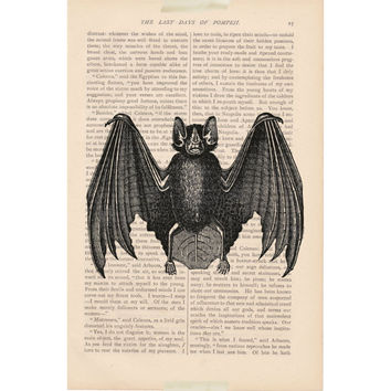 primitive halloween decor dictionary art print - Black Bat - rustic halloween decorations