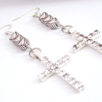 Heart and Cross Earrings, Silver Cross Earrings, Rhinestone Cross Jewelry, Christian Earrings, Religious Jewelry, Spiritual Earrings