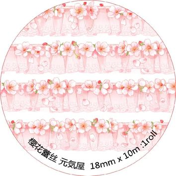 5 pcs/lot DIY Japanese Paper Decorative Adhesive Tape Cartoon Cherry blossoms Lace Washi Tape/Masking Tape Stickers mt3104