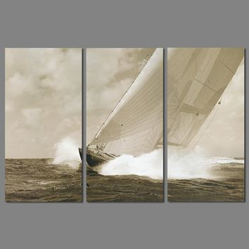 Retro sea sailboat 3 pcs Landscape for living room Decoration sailing boat Canvas Painting on wall art pictures home decor unfra